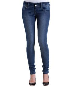 Loving this Medium Blue Double-Button Skinny Jeans on #zulily! #zulilyfinds