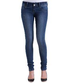Look at this #zulilyfind! Medium Blue Double-Button Skinny Jeans #zulilyfinds