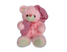 A ready to sleep pink teddy (1ft appx.). Perfect bed partner for your kid!     Time to order for this cute bed partner which would surely accesorize your bed and make you fall into sweeter dreams. This 1ft cute pink teddy comes with a night cap and holds a pillow in its hand. Gift this lovable toy today to your loved ones!