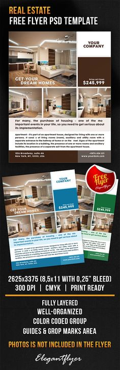 Real Estate Advertising Flyer Template Advertising by Koreev - free microsoft word flyer templates