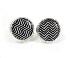 Chevron Stud Earrings - Black White Earring Posts - Stripes - Zig Zag - Geometric Earrings