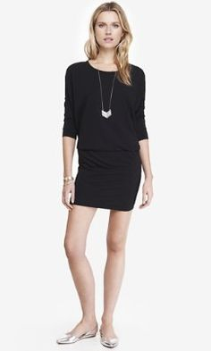 STRETCH COTTON DOLMAN DRESS from EXPRESS