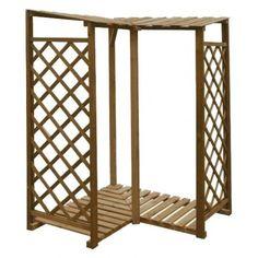 Drewutnia - Wiata na drewno kominkowe - Moduł narożny 1200 x 1200 x 1700/1820 mm - impregnacja brąz