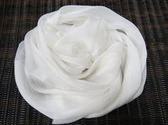 Silk Krinkle chiffon fabric scarf for nuno felting color: white