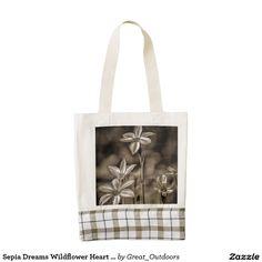 Sepia Dreams Wildflower Heart Tote