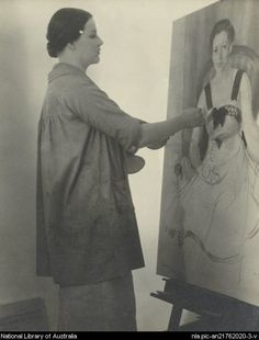 Nora Heysen painting the Archibald Prize winning 'Portrait of Madame Schuurman'. Madame ELINK SCHUURMAN was the wife of the Consul General for the Netherlands in Sydney during the Second World War. Australian Painting, Australian Artists, Terra Australis, New Objectivity, Magic Realism, Harlem Renaissance, Being In The World, Aboriginal Art, Belle Epoque
