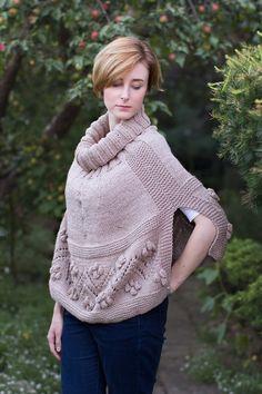 Poncho for women wool alpaca bobbles  lace by SznurkowaSowa