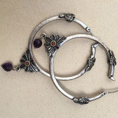 "Lucky Brand Hoop Earrings Silver tone Lucky Brand boho hoops with purple drops and rust beads. I liked them enough to buy, but never worn them. ???  1.5"" across. Lucky Brand Jewelry Earrings"