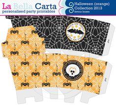 Halloween orange Favour Boxes Halloween Party by LaBellaCarta
