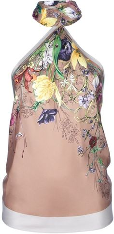 Lovely botanical print on this scarf-style halter top by Gucci.