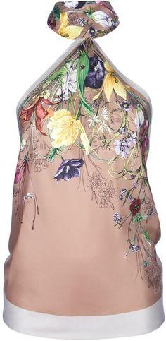 Gucci Floral Print Halter Neck Top - Lyst