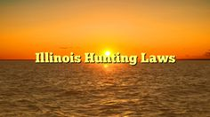 Illinois Hunting Laws - http://4gunner.com/illinois-hunting-laws/