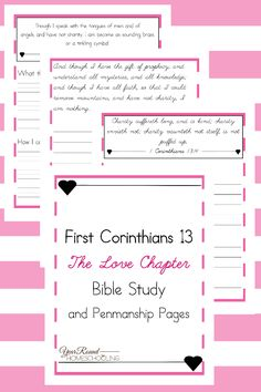 First Corinthians 13: The Love Chapter Bible Study and Penmanship Pages - By Year Round Homeschooling
