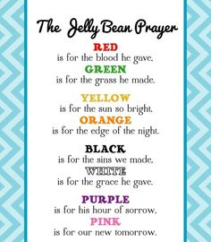 Jelly Bean Prayer: some kind of activity for kids/south Africa? Pic only