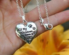 Charm Necklace - .925 Sterling Silver Chain - All My Children Have Paws Pendant - Pet Dog Cat Mom Lover Paw Print Heart Gift
