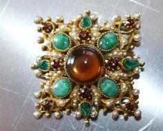 Vintage Amber Brooch Rhinestone 1950s Jewelry by patwatty on Etsy, $15.00