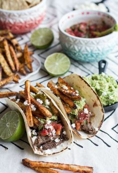Loaded Crockpot Carne Asada Tacos [RECIPE] without the french fries though for me.