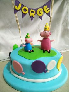 Tarta fondant - Peppa Pig y George