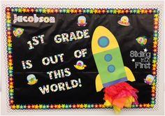 bulletin board, 1st grade, space, rainbow, chevron, rocket, theme