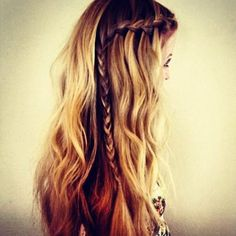 I would pin at the crown rather than braid all the way down, but this is the bridesmaid braid I was talking about.