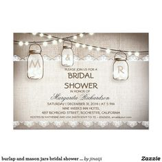 burlap and mason jars bridal shower invitations Elegant rustic burlap and white lace design bridal shower invitation with string of lights and hanging mason jars.