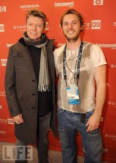 Photo of David Bowie & his friend director  Duncan Jones - At work