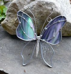 Stormy Weather Butterfly Stained Glass Suncatcher #StainedGlassButterfly