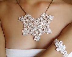 Collar azul elegante Gargantilla crochet Collar por DIDIcrochet