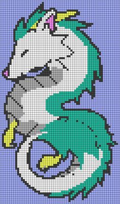 Haku Dragon Spirited Away Perler Bead Pattern