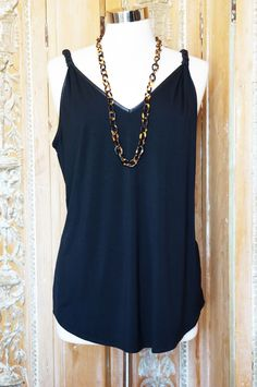 Black vneck tank with braided straps. Made in the USA!