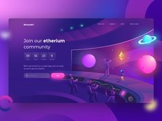 Bimasakti Etherium Hero designed by Zazuly Aziz for Pixelz Studio. Connect with them on Dribbble; the global community for designers and creative professionals. Website Design Layout, Web Layout, Layout Design, Creative Web Design, Web Ui Design, Page Design, Banners, Isometric Design, App Design Inspiration