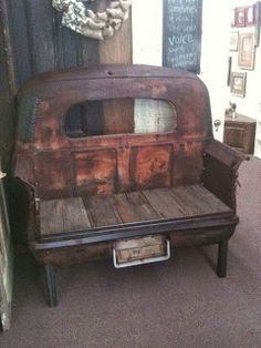 1941 studebaker truck bed bench--this would be so awesome in a man cave! Car Part Furniture, Automotive Furniture, Furniture Ideas, Garden Furniture, Furniture Design, Modern Furniture, Furniture Websites, Furniture Chairs, Garden Chairs