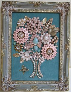 Jeweled Framed Jewelry Flower Bouquet Pink Blue by audreymivey