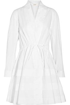 White cotton-poplin Concealed button fastenings through front 100% cotton Dry clean Made in Italy