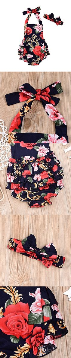 Newborn Baby Girls Floral Jumpsuit Romper Playsuit + Headband Outfits Clothes (0-6 Months)