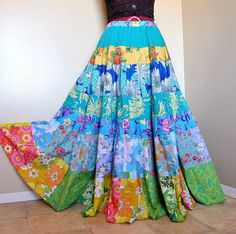 Spring FlowerChild  Long Hippie Patchwork skirt by BarefootModiste, $145.00