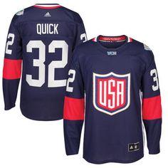 adidas Jonathan Quick USA Hockey Navy World Cup of Hockey 2016 Premier Player Jersey