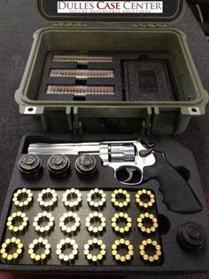 Pelican 1400 case with custom foam for a Smith and Wesson 617 22LR. Custom foam custom pistol cases #customfoam #customguncases #smithandwesson