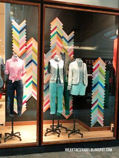 i heart interiors: J. Crew :: Colorful Chevron Window Display- quilty inspiration