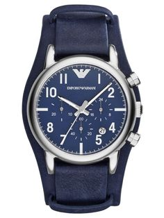 89ca68398f4 Emporio Armani Men s Chronograph Blue Leather Cuff Strap Watch 41mm AR1829  Cheap Watches For Men
