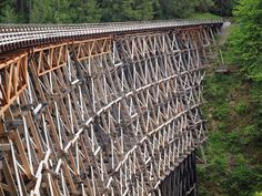 The Kinsol Trestle Bridge is one of the tallest free-standing timber rail trestle structures in the world. Measuring at 614 feet (187 metres) in length and 145 feet (44 metres) in height, the Kinsol Trestle stands as a pseudo-monument to the early days of mining and logging. Be sure you make it a point to cross the Koksilah River at this wooden landmark.