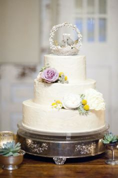white wedding cake with love bird cake topper by Barr Mansion // photo by LaurenLarsenBlog.com