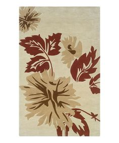 Take a look at this Cream & Beige Leaf Trio With a Twist Rug by Linon Home on #zulily today!