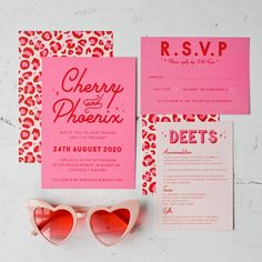 Alabama wedding invitation set, retro kitsch americana inspired wedding stationery - You can purchase this stationery suite in 3 different ways: Sample set only – Please see informat - Retro Wedding Invitations, Wedding Stationery, Invites, Wedding Invitation Design, Wedding Favours, Invitation Cards, Party Invitations, Design Package, Lettering