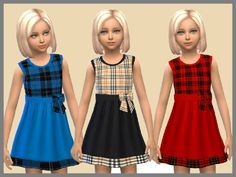 Tartan Girls Dresses by SweetDreamsZzzzz at TSR via Sims 4 Updates
