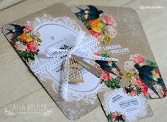 Caixa Rústica: Convite Love Bird 1.0  ▫️ Inove com a Caixa Rústica e surpreenda convidados!  ∴ Solicite seu orçamento! www.caixarustica.com  #convite #kraft #casamento #rustico #invitation #rustic #wedding #papelaria #vintage #pássaros #bird #floral #boho