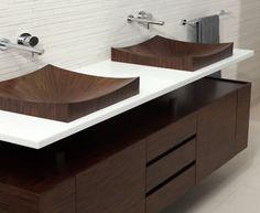 Laguna Pure fine wood bath furniture by aLegna.  Wood sinks? Yes, and how.