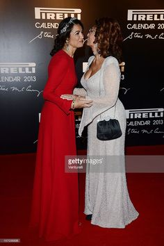 Afef Jnifen and Sophia Loreno attend the '2013 Pirelli Calendar Unveiling' on November 27, 2012 in Rio de Janeiro, Brazil.