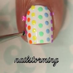 Tutorial for gorgeous polka dot nails by @nailstorming using Pure Color dotting tools from whatsupnails.com (link in bio...