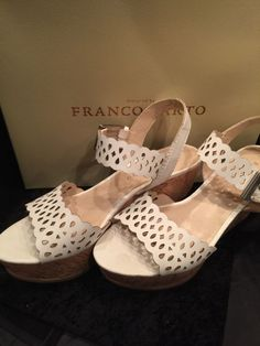 "7.5M Franco Sarto Frolic White Cork Wedge Platform Sandals 3 1/2"" Wedge Heel #FrancoSarto #Wedge"